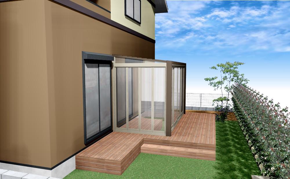 ガーデンルームの庭+外壁塗装B