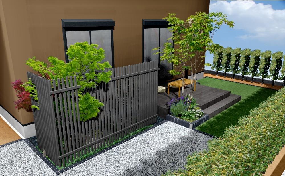坪庭がある庭+外壁塗装B