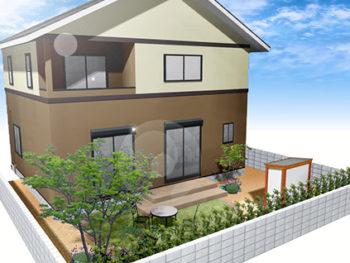 デザイン物置のある庭+外壁塗装B