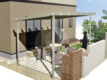 ピザ釜・BBQ・パーゴラの庭+外壁塗装B