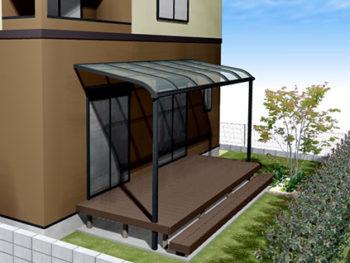 ウッドデッキと屋根の庭+外壁塗装B