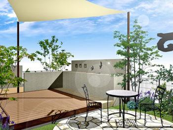 キッチンガーデンのある庭+外壁塗装B