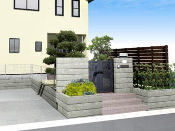 玄関横目隠しフェンス+外壁塗装A
