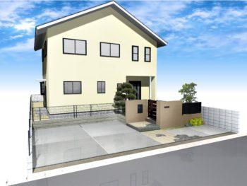 車庫増設と門回り改修(クローズ外構)+外壁塗装A